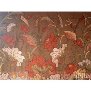 Tranh hoa sen - THS15, tranh gốm phù lãng