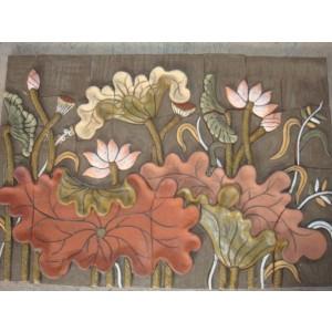 Tranh hoa sen - THS17, tranh gốm phù lãng