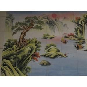 Tranh sơn thuỷ - ST13, tranh gốm phù lãng